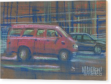 Wood Print featuring the painting Red Van by Donald Maier