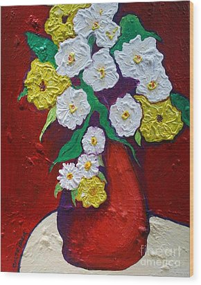Red Vas With Yellow And White Flowers Wood Print by Alison Caltrider