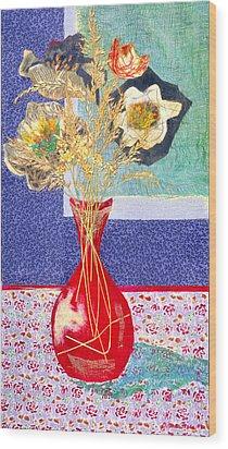 Red Vase I Wood Print by Diane Fine