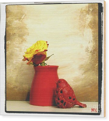 Red Vase Red Bird And Red Yellow Rose Wood Print by Marsha Heiken
