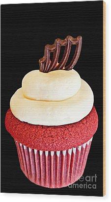 Red Velvet Cupcake On Black Wood Print