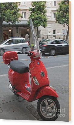 Red Vespa Wood Print by Inge Johnsson