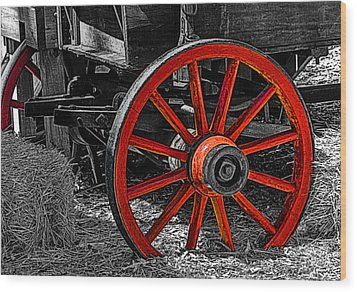 Red Wagon Wheel Wood Print by Jack Zulli