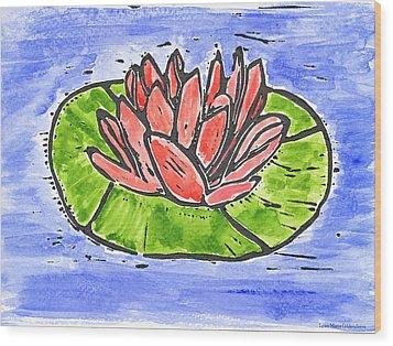 Red Waterlily Wood Print by Lynn-Marie Gildersleeve
