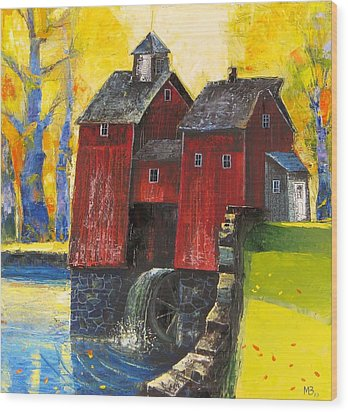 Red Watermill Wood Print