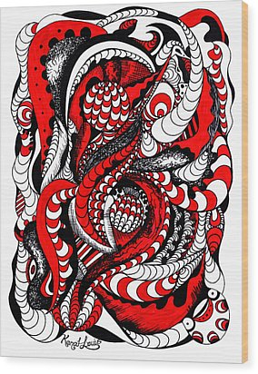 Red Wave Of Thoughts Wood Print by Kenal Louis