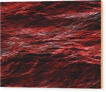 Red Waves Wood Print by Dennis James