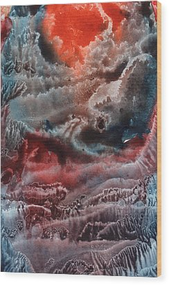 Red Waves Wood Print