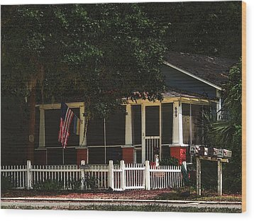 Wood Print featuring the photograph Red White And Blue Cottage by Laura Ragland