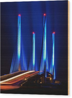 Red White And Blue Indian River Inlet Bridge Wood Print