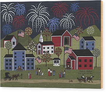 Red White And Blue Wood Print by Medana Gabbard