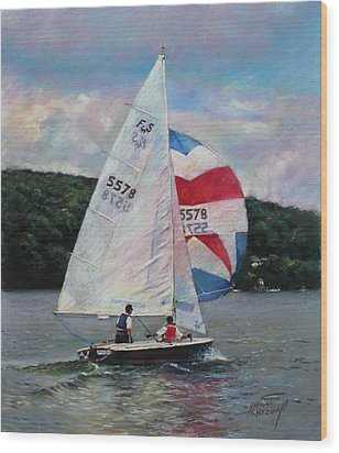 Red White And Blue Sailboat Wood Print by Viola El
