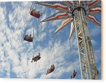 Red White And Blue Swings At Coney Island Wood Print