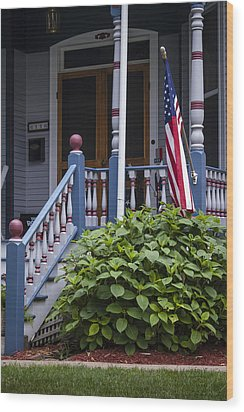 Red White And Blue Wood Print by Wayne Meyer