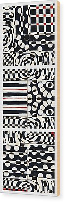 Red White Black Number 4 Wood Print by Carol Leigh
