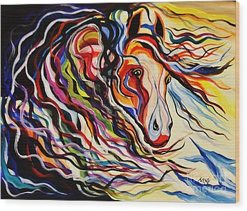 Red Wind Wild Horse Wood Print