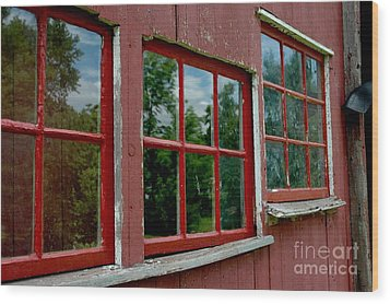 Wood Print featuring the photograph Red Windows Paned by Christiane Hellner-OBrien