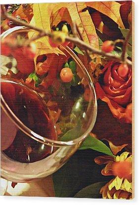 Red Wine 2 Wood Print by Sarah Loft