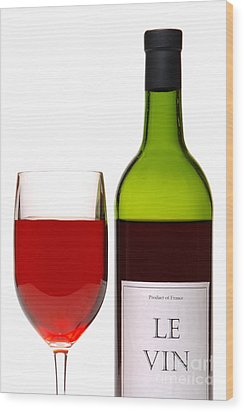 Red Wine And Bottle Wood Print by Olivier Le Queinec