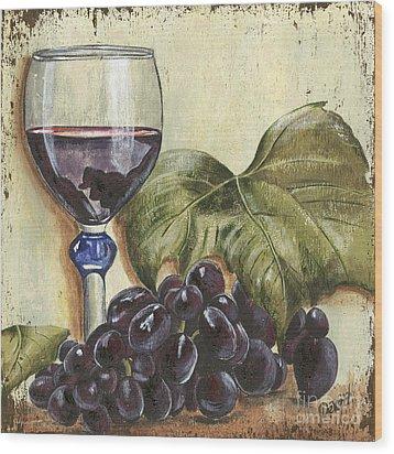 Red Wine And Grape Leaf Wood Print by Debbie DeWitt