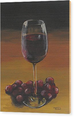 Red Wine And Red Grapes Wood Print by Torrie Smiley