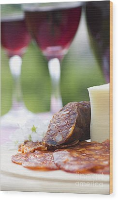 Red Wine And Sausage With Cheese Wood Print by Mythja  Photography