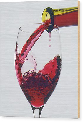 Red Wine Being Poured  Wood Print by Garry Gay