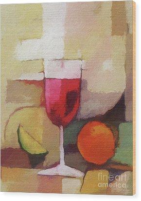 Red Wine Wood Print by Lutz Baar