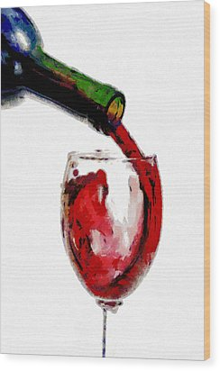 Red Wine Pouring Wood Print by Georgi Dimitrov