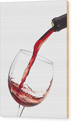 Red Wine Pouring Into Wineglass Splash Wood Print by Dustin K Ryan