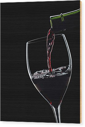 Red Wine Pouring Into Wineglass Splash Silhouette Wood Print by Alex Sukonkin