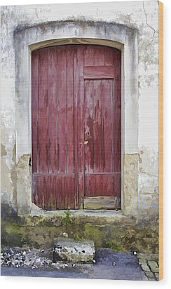 Red Wood Door Of The Medieval Village Of Pombal Wood Print by David Letts