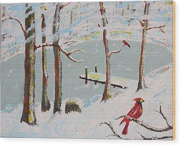 Redbird Winter Wood Print by Harold Greer