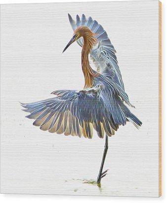 Wood Print featuring the digital art Reddish Egret 1 by William Horden