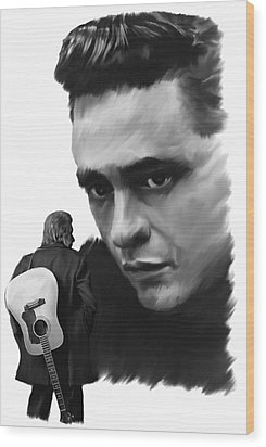 Redemption Jonny Cash Wood Print by Iconic Images Art Gallery David Pucciarelli