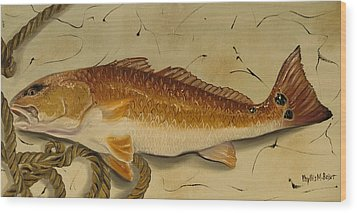 Redfish In The Boat Wood Print by Phyllis Beiser