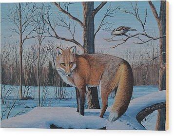 Redfox And Chickadee Wood Print