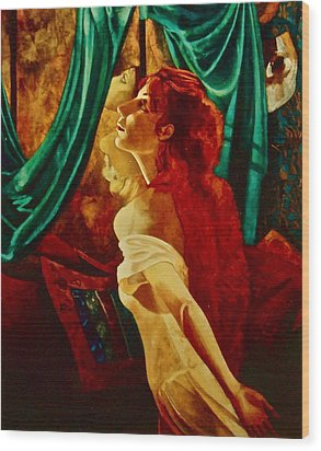 Redhead In The Mirror Wood Print by Susan Tammany