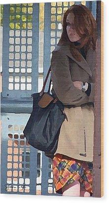 Redhead On Brown Line Wood Print by Shawn Lyte