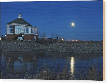 Redlin Art Center In Full Moon Wood Print by Dung Ma