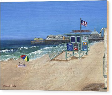 Redondo Beach Lifeguard  Wood Print by Jamie Frier