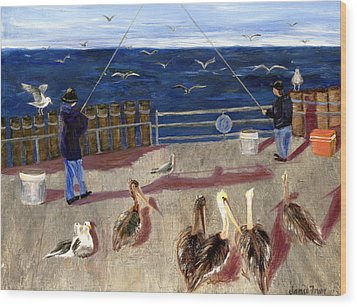 Redondo Beach Pelicans Wood Print by Jamie Frier