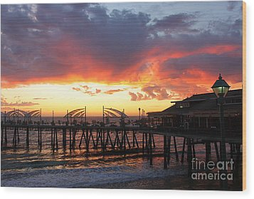 Redondo Pier Sunset Wood Print