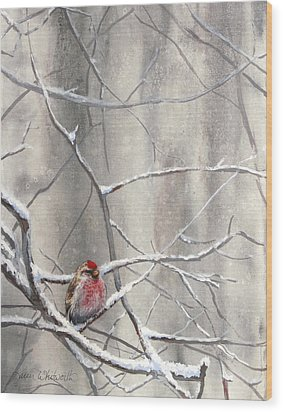 Redpoll Eyeing The Feeder - 1 Wood Print by Karen Whitworth