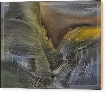 Wood Print featuring the pastel Redrocksamphiscape 2010 by Glenn Bautista