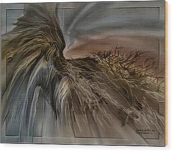 Wood Print featuring the pastel Redrockscape 2010 by Glenn Bautista