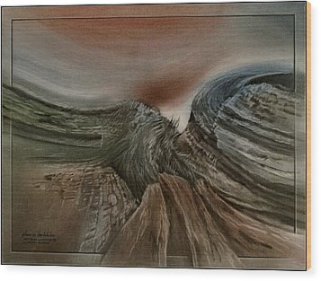 Wood Print featuring the pastel Redrockscapeb 2010 by Glenn Bautista
