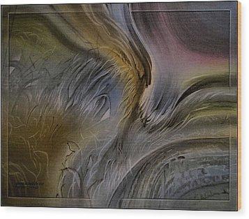 Wood Print featuring the pastel Redrockscapec 2010 by Glenn Bautista