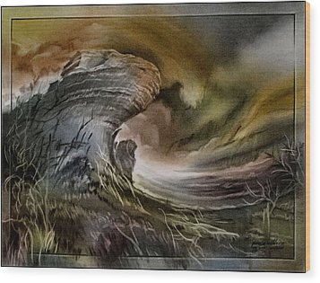 Wood Print featuring the pastel Redrockscaped 2010 by Glenn Bautista