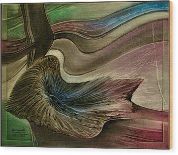 Wood Print featuring the pastel Redrockspalmfrondcomp 2010 by Glenn Bautista